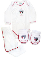 Kit 3 Pe�as Body Longo Branco Torcida Baby SPFC